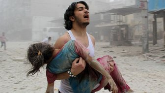 Grieving Syrian man and injued girl