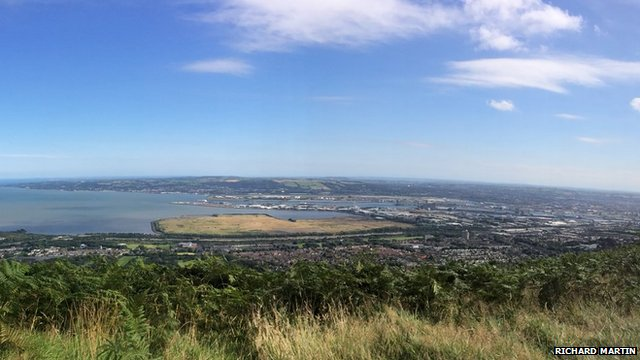 The mouth of Belfast Lough captured from the top of Cavehill