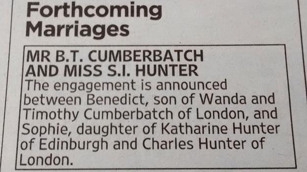 Benedict Cumberbatch and Sophie Hunter's engagement notice