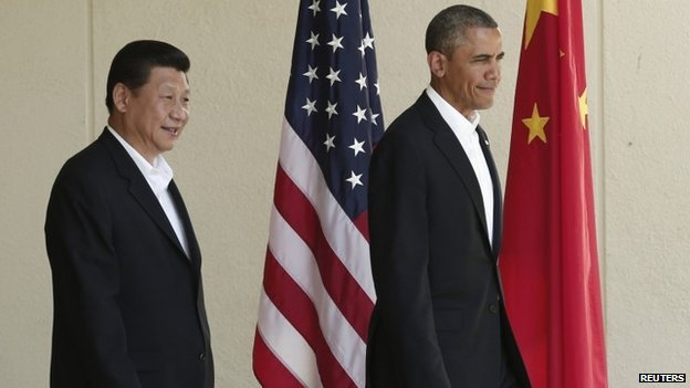 China's president, Xi Jinping, and Barack Obama in 2013