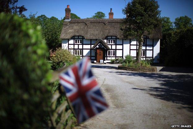 English cottage, Union Jack flag