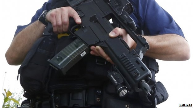 Police officer with a H & K G36C