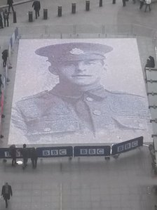 Mosaic of Private James Beaney in W1