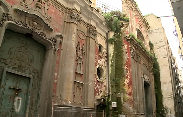 An old building in disrepair