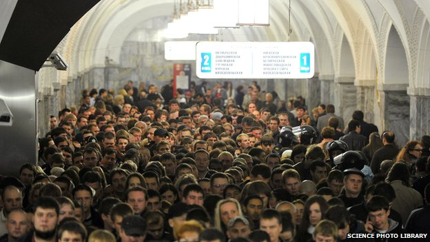 Rush hour on the Moscow Metro