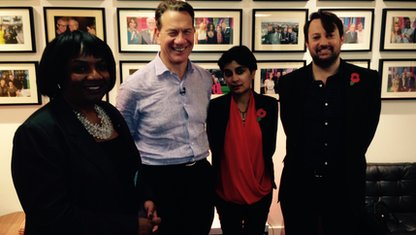 Diane Abbott, Michael Portillo, Shami Chakrabarti and David Mitchell