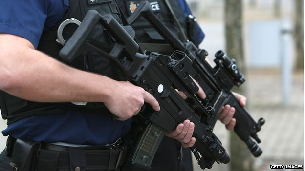 Police officers with a Heckler & Koch G36C assault rifles