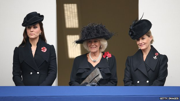 Catherine, Duchess of Cambridge, Camilla, Duchess of Cornwall, and Sophie, Countess of Wessex attend the annual Remembrance Sunday Service at the Cenotaph
