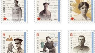 Stamps issued by Guernsey Post to commemorate WW1