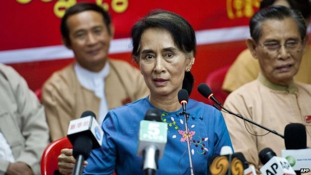 Aung San Suu Kyi talks at an NLD meeting in Rangoon (