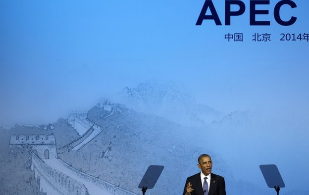 U.S. President Barack Obama speaks at the APEC CEO Summit, Monday, Nov. 10, 2014, in Beijing. (AP Photo/Andy Wong)