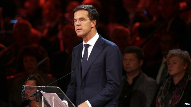 Dutch Prime Minister Mark Rutte speaks during the national commemoration in Amsterdam (10 November 2014)