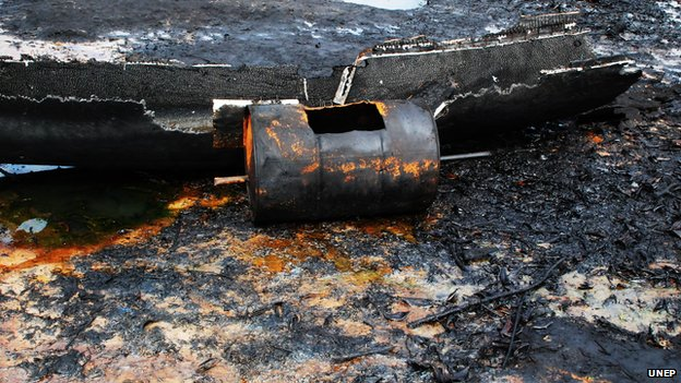 The locations at which artisanal refining has been carried out present a picture of total environmental devastation. (Bodo West, Bonny LGA) Nov 4 2010