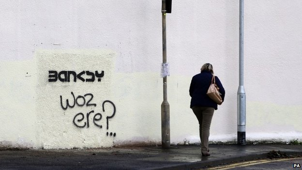 Fresh graffiti on the Folkestone site where the Banksy mural was removed