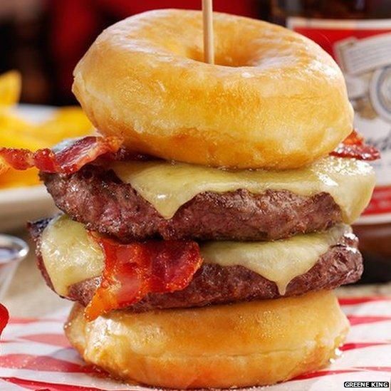 Pub chain criticised for calorific doughnut burger bbc news for Cuisine 2000