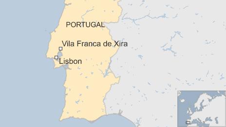 A map showing Vila Franca de Xira relative to the Portuguese capital Lisbon