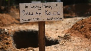 A grave in a cemetery for Ebola victims in Bong County, Liberia