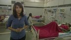 Yogita Limaye in hospital ward in Bilaspur where women recovering from botched sterilisation surgery are being treated