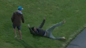 Andrew Mculloch takes an amazing catch in the crowd whilst watching cricket in New Zealand