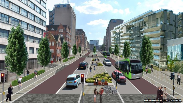 Artist's impression of the planned redevelopment of Great Charles Street, Birmingham