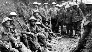 Irish soldiers in the trenches during World War One