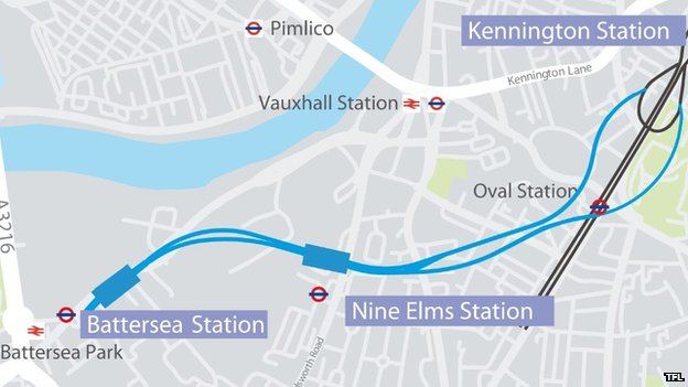 Map of the new Tube extension