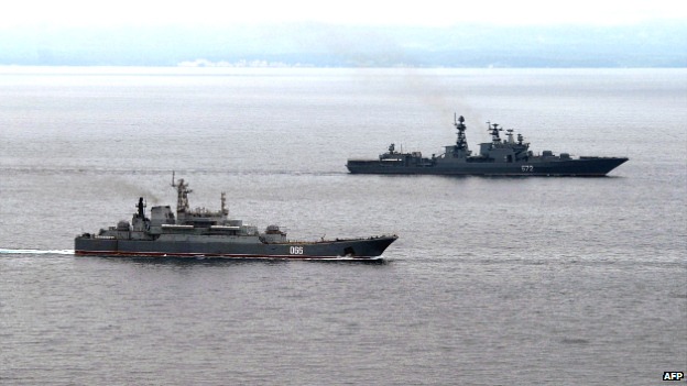 Russian military ships take part in exercises in the Pacific Ocean near the Sakhalin island - 16 July 2013