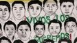 "A banner reading ""We want them alive"" with portraits of 43 missing students hangs outside their Ayotzinapa Teacher Training College in Tixtla, near Chilpancingo, in the southwestern state of Guerrero, on 10 November, 2014."
