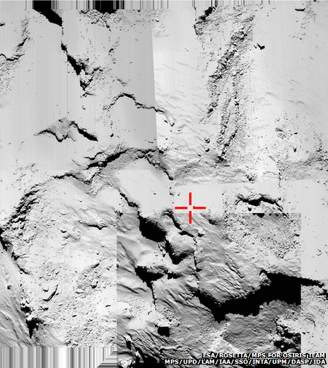 Comet surface seen from the orbiter