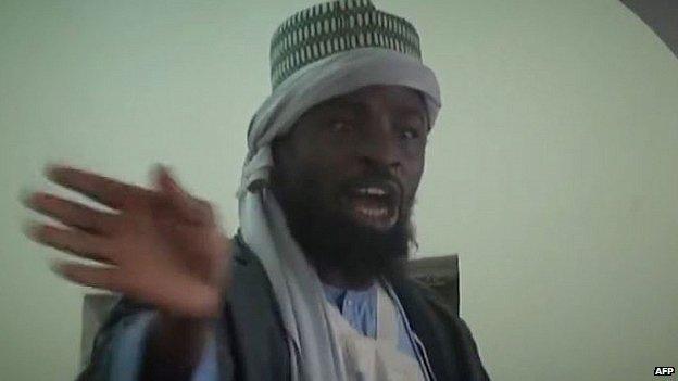 Video grab of Boko Haram leader Abubakar Shekau preaching in an undisclosed town. 9 Nov 2014