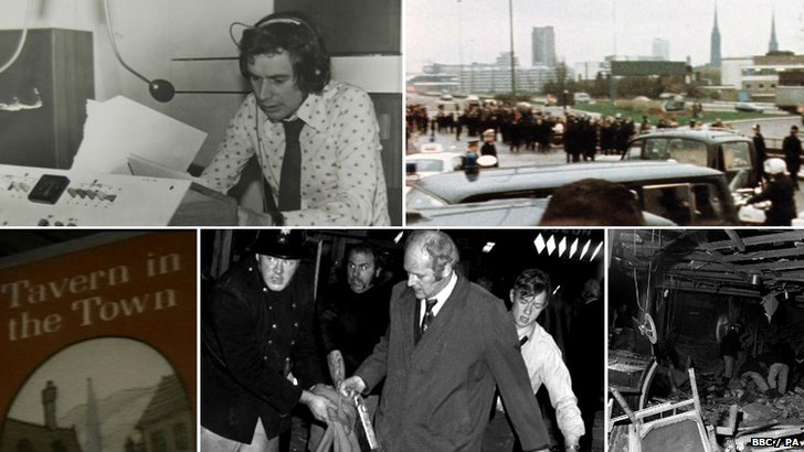 Nick Owen and images of the Birmingham pub bombings and James McDade's coffin being taken to Birmingham Airport