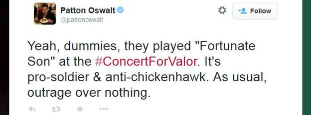 "Patton Oswalt tweets that the performance of Fortunate Son was ""outrage over nothing""."