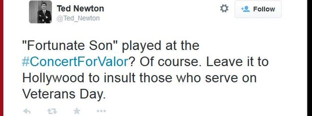 Conservative consultant Ted Newton criticises the performance of Fortunate Son at the Concert for Valor