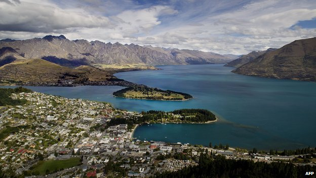 A view over Queenstown in New Zealand