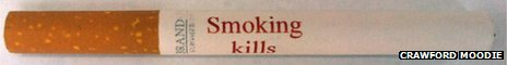 A cigarette with 'Smoking kills' written on it in red ink