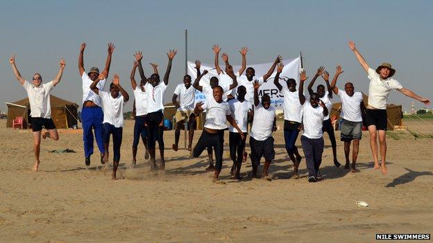 Graduates of the Sudanese Nile Swimmers' training programme