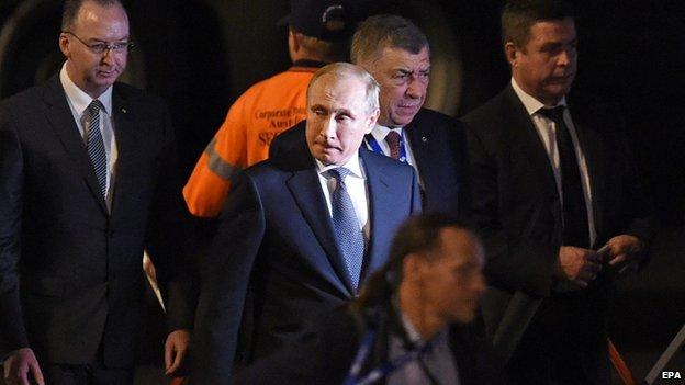 Russian President Vladimir Putin arrives for the G20 Summit in Brisbane, Australia, on 14 November 2014
