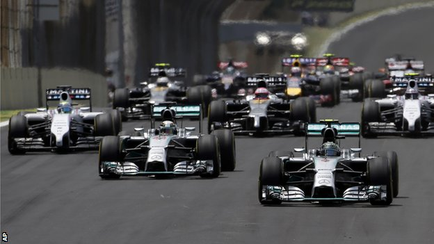 Nico Rosberg leads the field away from the starting grid the Formula One Brazilian Grand Prix