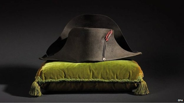 An undated handout picture provided by Osenat auction house on 20 October 2014 shows the hat of French emperor Napoleon Bonaparte. (c) EPA