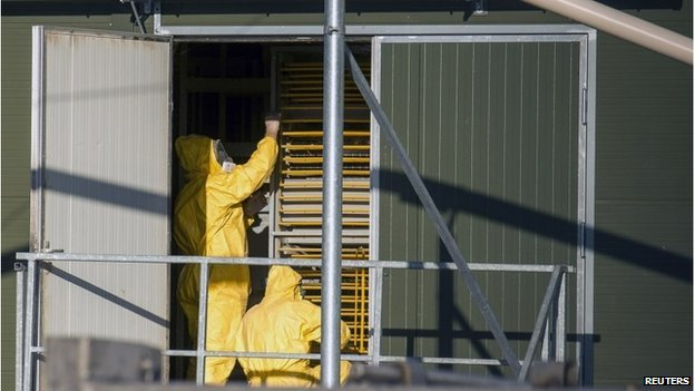 Experts wearing protection suits work at a poultry farm, where a highly contagious strain of bird flu was found by Dutch authorities.