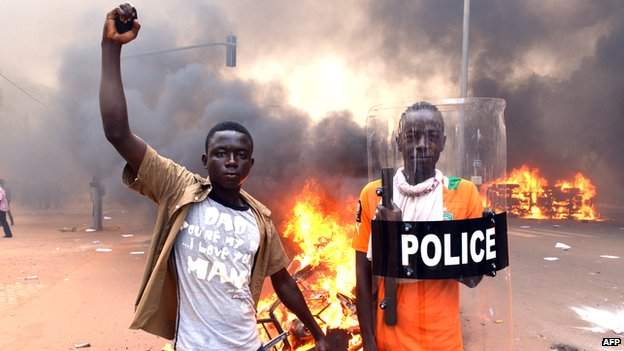 Protesters in the streets of the capital of Burkina Faso, Ouagadougou