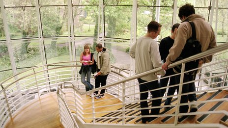 Students on a staircase