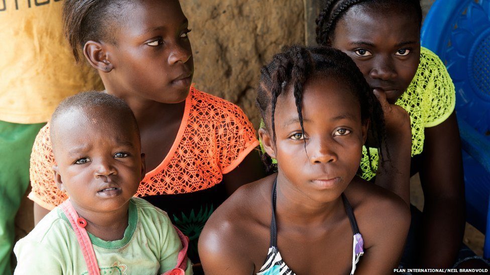 Noami, 12, (bright green) Pascaline, 14, (orange) Yonger, 11, (purple and yellow) and Blessing, two
