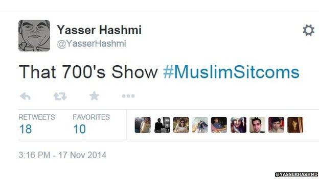 Tweet used with #MuslimSitcoms hashtag