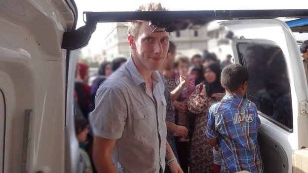 Abdul-Rahman Kassig (formerly Peter Kassig) delivering aid in Lebanon's Bekaa Valley in May 2013.