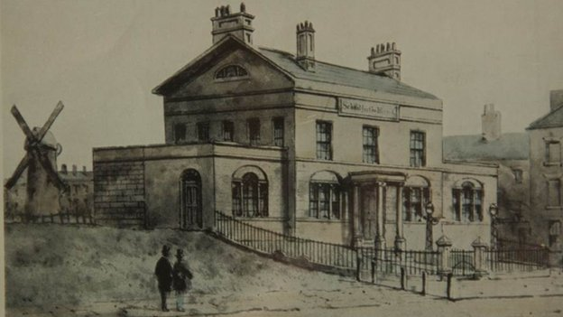 An old sketch of the blind school in Liverpool