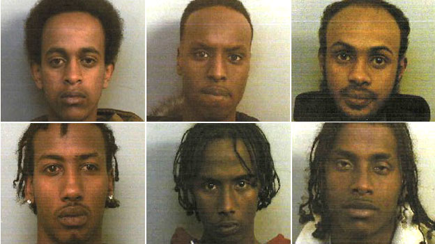 From top left, clockwise, Mustapha Farah, Liban Abdi, Mustafa Deria, Idleh Osman, Abdulahi Aden, and Arafat Osman