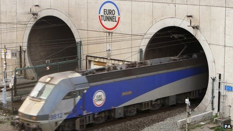 Eurotunnel train leaving the tunnel at Calais in France
