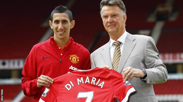 Angel Di Maria with Manchester United boss Louis van Gaal