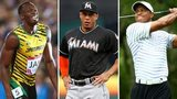 Usain Bolt, Giancarlo Stanton and Tiger Woods
